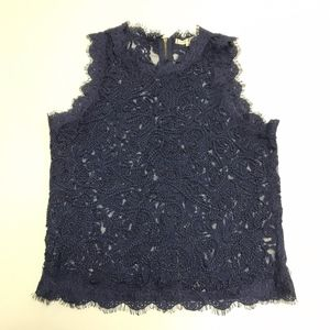 Willow & Clay Blue Lace Embroidered TankTop Blouse